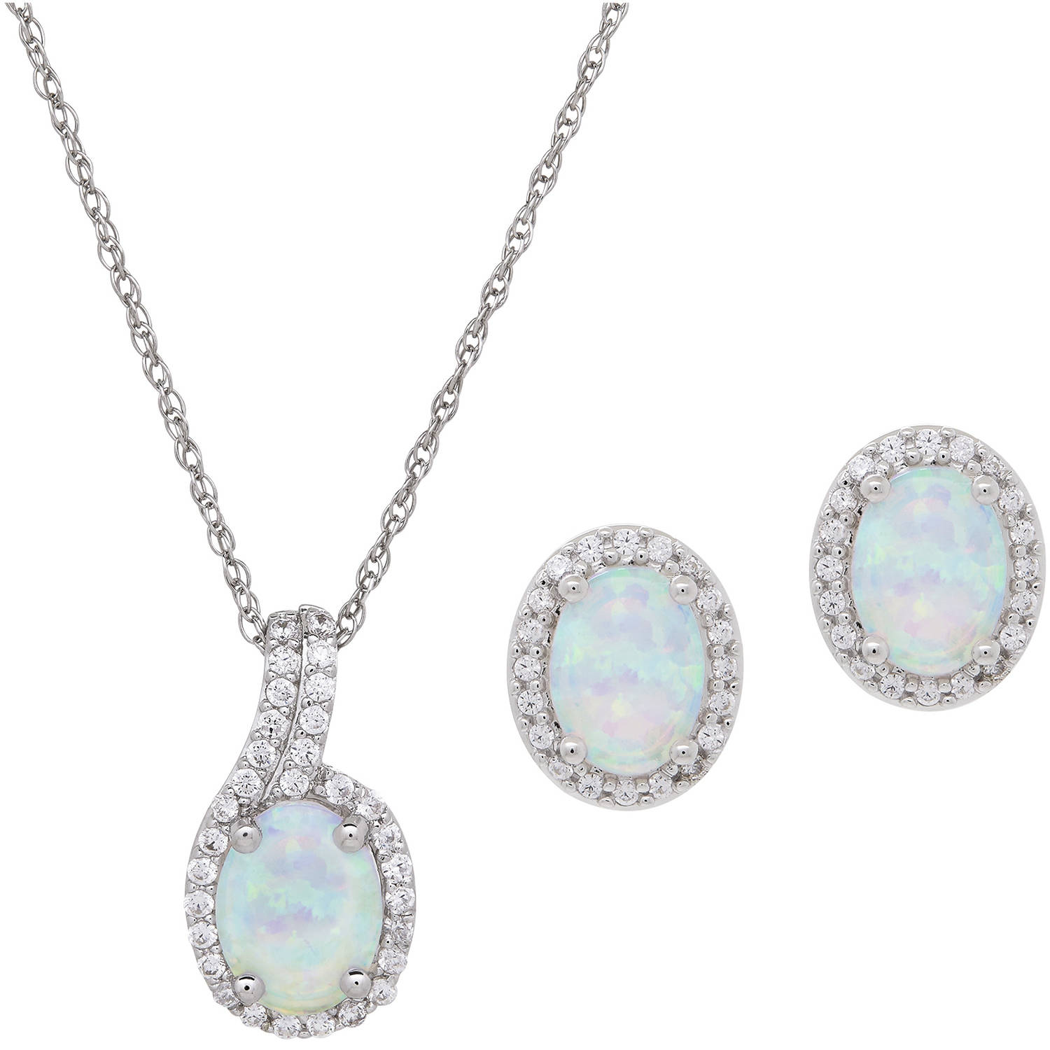 Oval-Cut Created Opal & Cubic Zirconia Accent Sterling Silver Pendant and Earrings Set, 18 Chain by Richline Group Inc