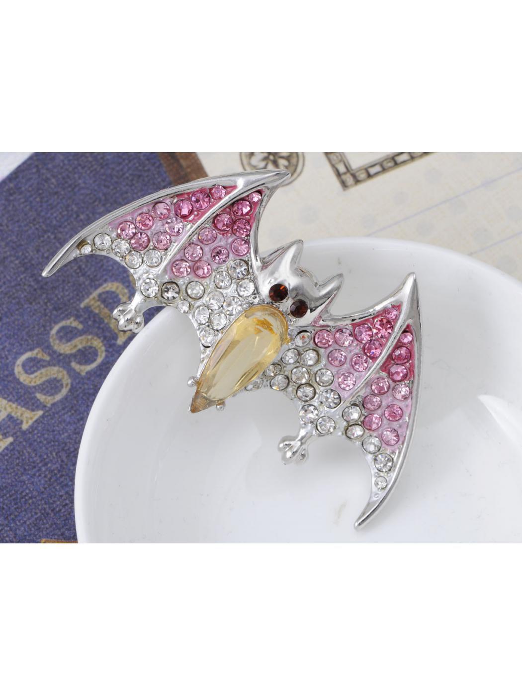 Topaz Crystal Body Rhinestone Painted Fuchsia Pink Wing Vampire Bat Pin Brooch by