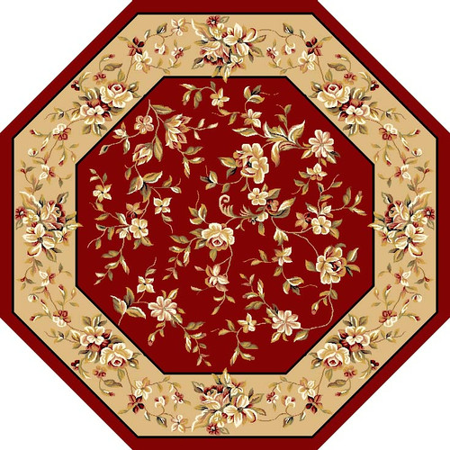 KAS Rugs Cambridge Red & Beige Floral Area Rug