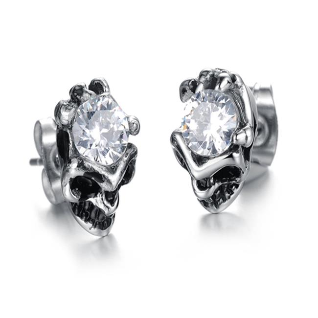 ES Jewel GE277B Stainless Steel Jeweled Rose Earring