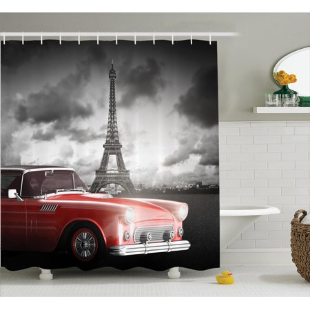 Paris Decor Shower Curtain Set, Fancy Vintage Car With Tour Eiffel In Cold Cloudy Day Romantic Theme Retro Style Art Photo, Bathroom Accessories, 69W X 70L Inches, By Ambesonne](Paris Themed Decor Accessories)