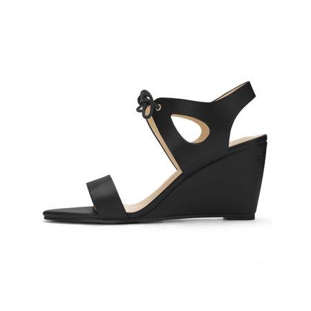 1a253e5c0e Unique Bargains Women's Tie-Up Open Toe Cutout Detail Wedge Sandals Black  (Size 9.5 ...