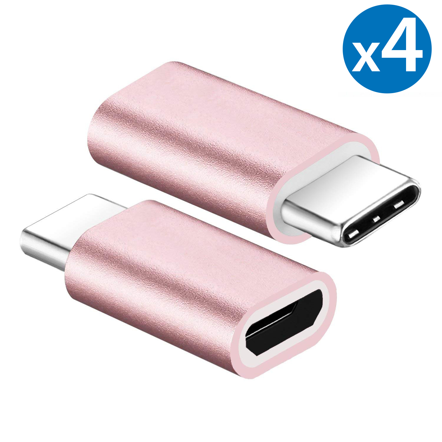 4x FREEDOMTECH Type C Adapter, Micro USB to USB C Adapter, Data Sync and Charging, Universal for Mac, ChromeBook Pixel, Nexus 5X, Nexus 6P, Nokia N1, Samsung Galaxy S9/S8, Note 8/9 All Type C Devices