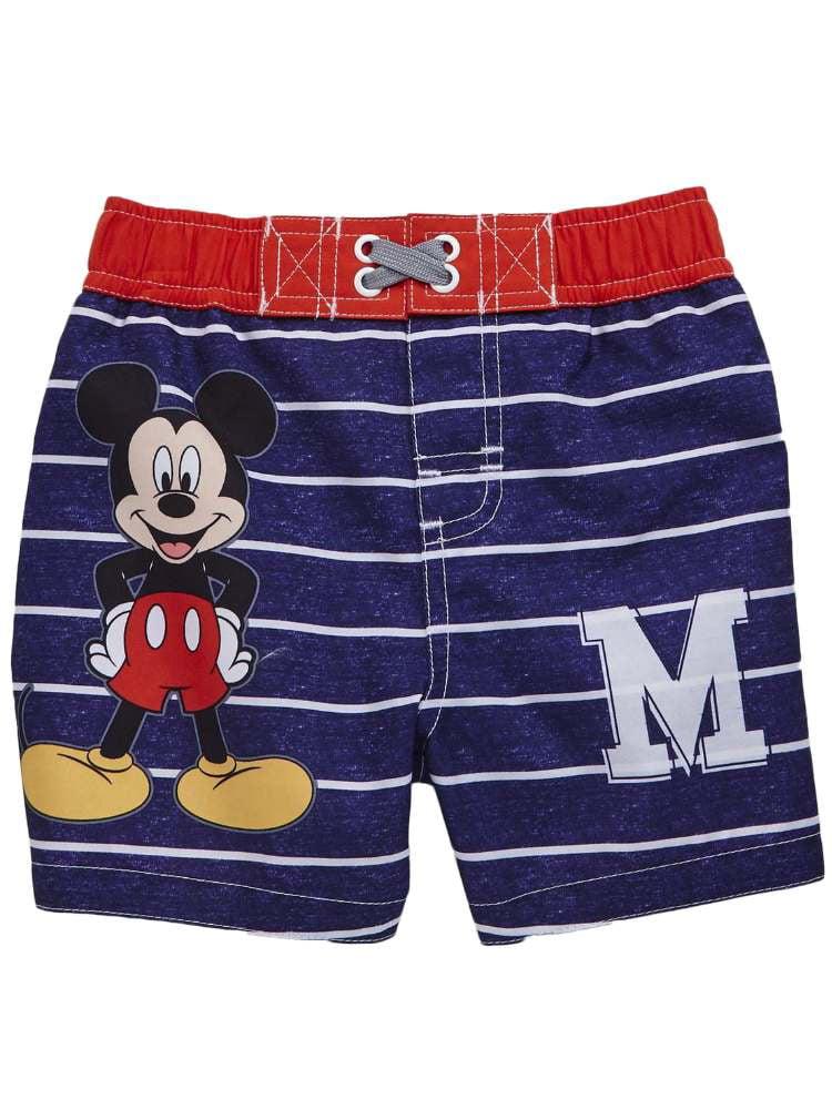 Disney Baby Boy Swim Bottoms 12M 24M Red Gray Black Swim Shorts Stripes Pirates