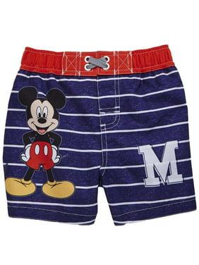 1cd36dc2df Product Image Disney Infant Boys Blue Stripe Mickey Mouse Swim Trunks Baby  Board Shorts