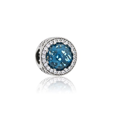 Radiant Hearts Charm - Sky-Blue Crystal & Clear CZ - 791725NBS Crystal Open Heart Charm