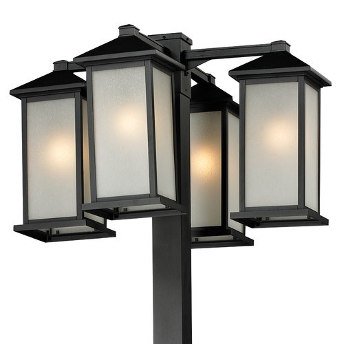 Z-Lite Vienna 4 Head Outdoor Post in Black