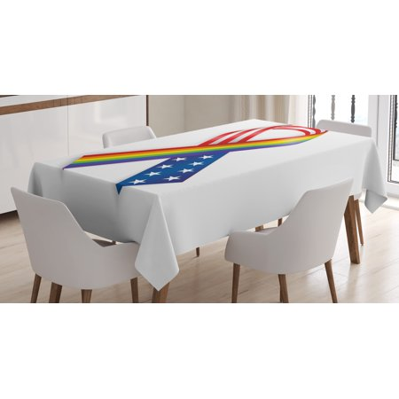 Pride Decorations Tablecloth, Rainbow and USA Ribbons Solidarity Equality Awareness Community Theme, Rectangular Table Cover for Dining Room Kitchen, 60 X 90 Inches, Multicolor, by Ambesonne