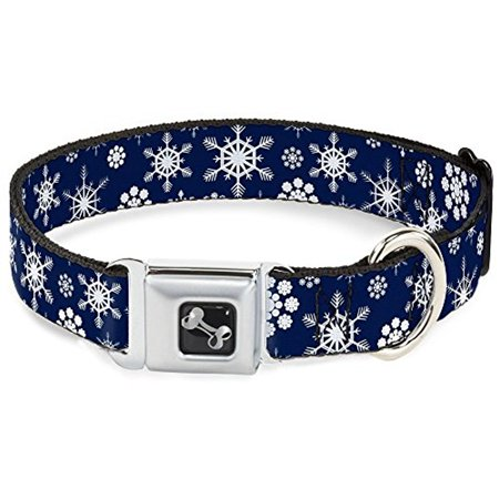 buckle-down holiday snowflakes gray blue dog collar bone