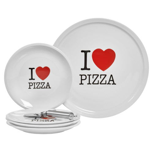 Tabletops Gallery I Love Pizza 6 Piece Porcelain Platter Set