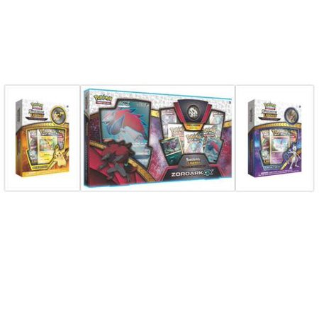 Pokemon Shining Legends Zoroark GX Premium Collection Box + Shining Legends Mewtwo and Pikachu Pin Collections