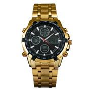 Quartz Digital Mens Watch Red Hand Black Dial Gold Stainless Steel Luminous