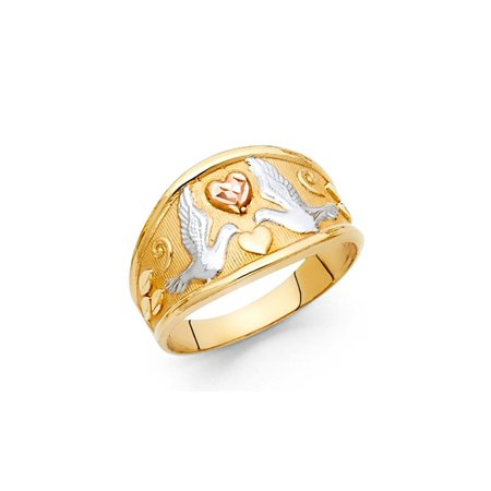 Womens Tri-color 14K Solid Gold Love Dove Ring, Size 7 5