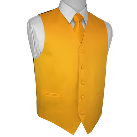 Italian Design, Men's Tuxedo Vest, Tie & Hankie Set - Yellow Gold Mens Vest
