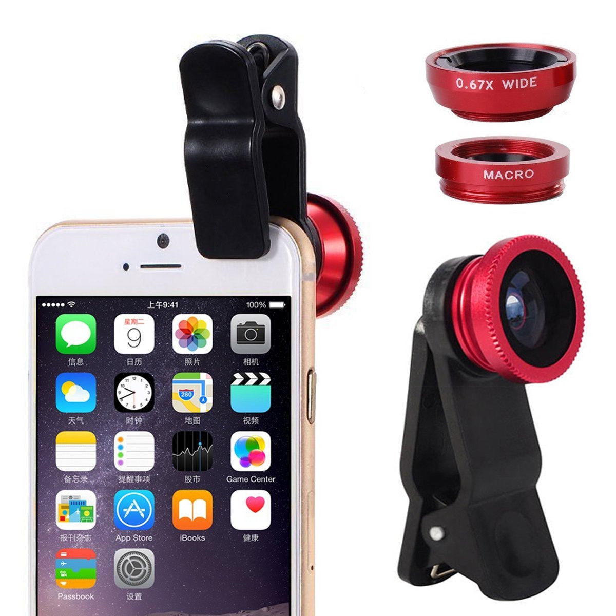 Black Smart Phone Beauty Lens,CoolFoxx 3 in 1 Portable Mini 3 Adjustable 0.4-0.6X Wide Angle /&10X Macro Lens for Iphone /& Most Smart Phone