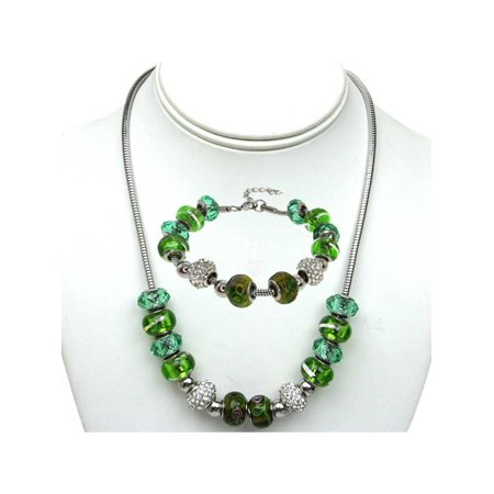 14MM White Pave Crystal Ball and Green Bead Compatible Necklace and Bracelet Set