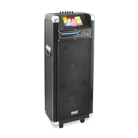 Wireless Battery Powered Pa System - Pyle PKRK212 - Karaoke Vibe Bluetooth Multimedia PA System with Dual 12'' Woofers, Dual 3'' Tweeters, 7'' Screen, DVD Player, VHF Wireless Microphone, 1000 Watt
