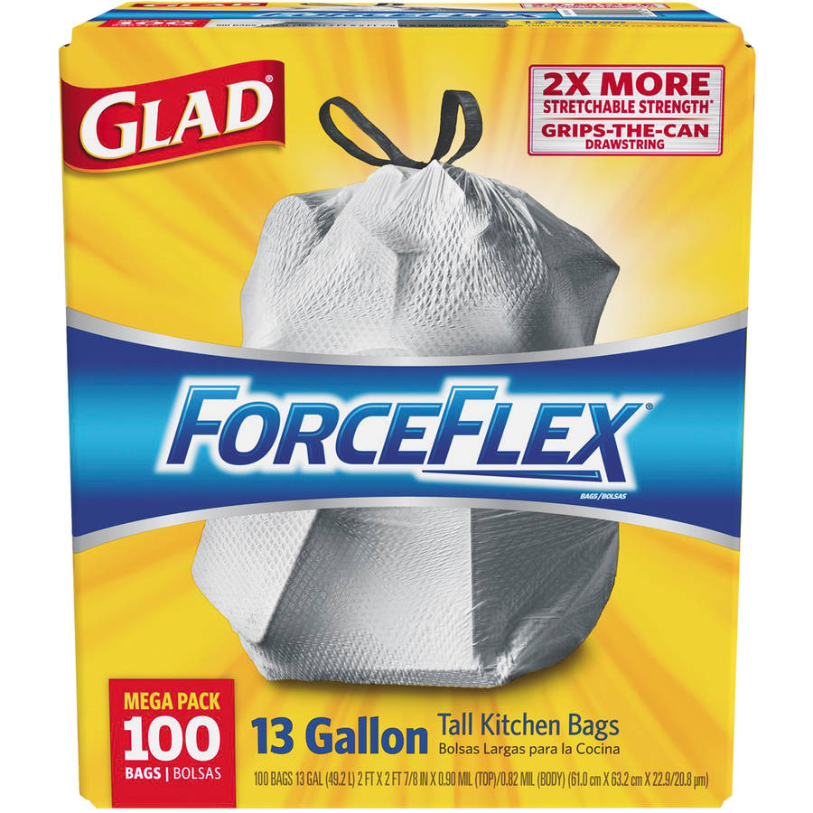 Glad Drawstring Forceflex Tall White Kitchen Bags, 13 gal, 100 ct