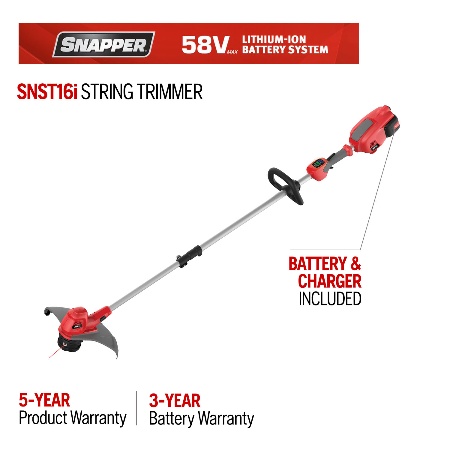 Snapper 16 in. 58-Volt Lithium-Ion Battery Straight Shaft String Trimmer (Battery Included)