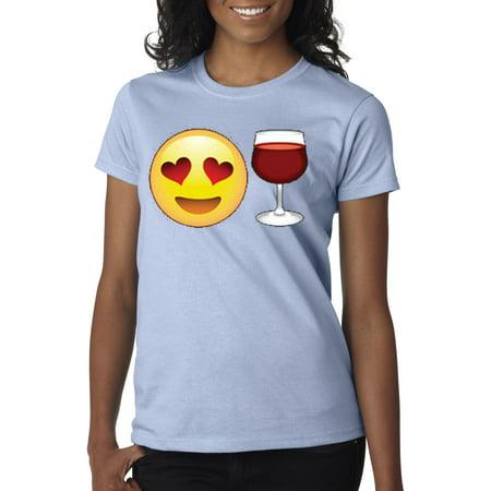 New Way 345 - Women's T-Shirt Emoji Smiley Face Heart Eyes Love Wine