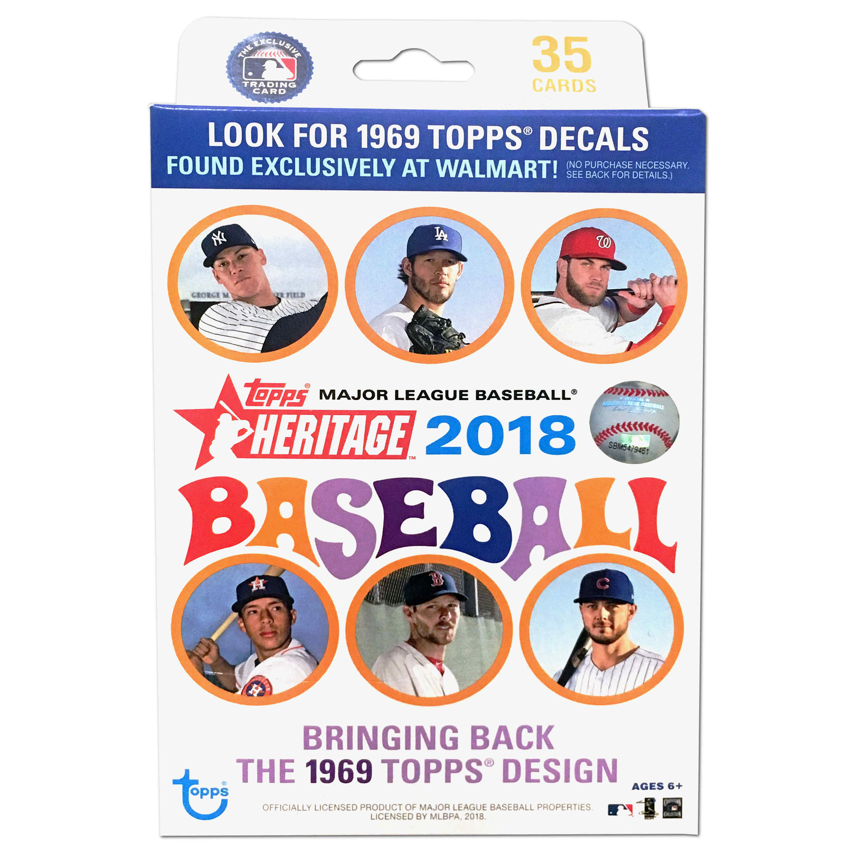 2018 Topps MLB Baseball Heritage Hanger Box Trading Cards | Featuring  Shohei Ohtani's Premiere| 1969 Design | Exclusive Decals only found in this  box