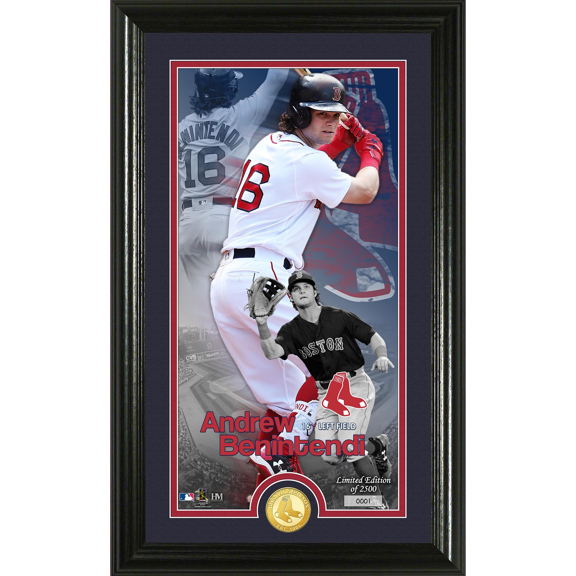 "Andrew Benintendi Boston Red Sox Highland Mint 12"" x 20"" Player Supreme Photo Mint - No Size"