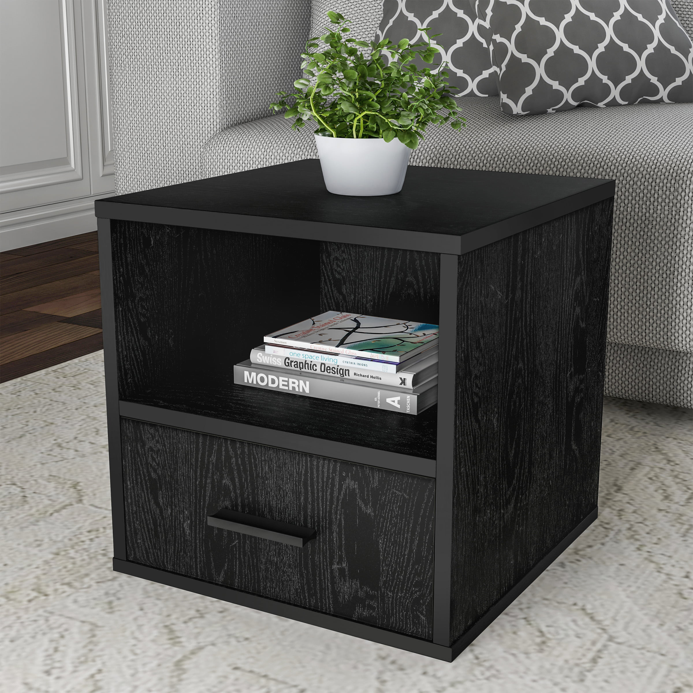 Lavish Home End Table Stackable Contemporary Minimalist Modular Cube Accent Table With Drawer Black Walmart Com Walmart Com