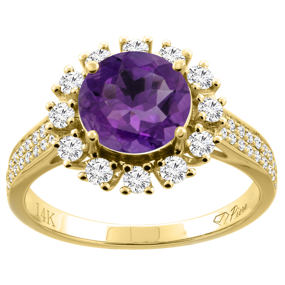 14k yellow gold natural amethyst ring round 8 mm diamond accents size 55