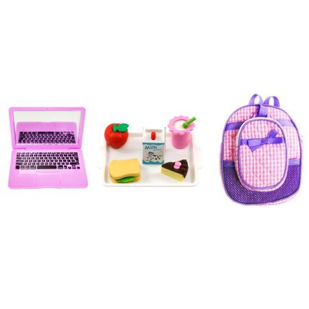 My Brittany's Lavender and Pink Backpack and Lunch Box Set with Accessories for American Girl Dolls- 18 Inch Doll Accessories for American Girl Dolls (American Girl Doll Backpack)