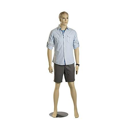 Male Caucasian Complexion Fiberglass Mannequin - Molded Blonde Hair - Height 6' 3½
