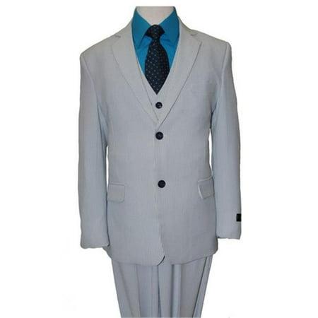 Gabardine 2 Button Suit (Mens Suits  Tic Texture with Satin Black Trim 2 Button Vested Notch Lapel Boys Suits  Blue - 16 )