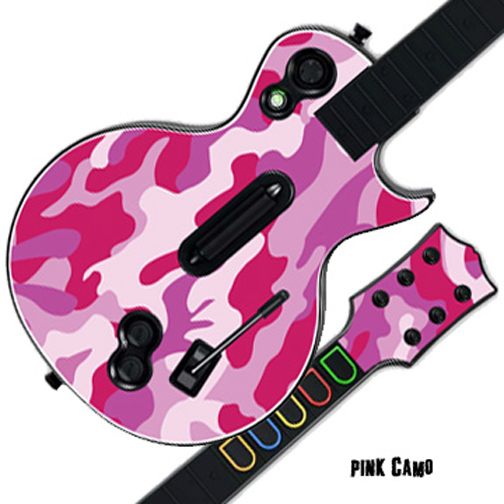 Mightyskins Protective Skin Decal Cover Sticker for GUITAR HERO 3 III PS3 Xbox 360 Les Paul - Pink Camo