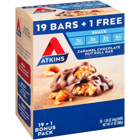 Atkins® Caramel Chocolate Nut Roll Snack Bar 20-1.55 oz. Box