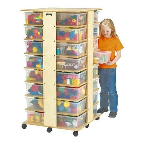 Jonti Craft Kid's Four Sided Storage Tower w 32 Cubbies (Colored Tubs)