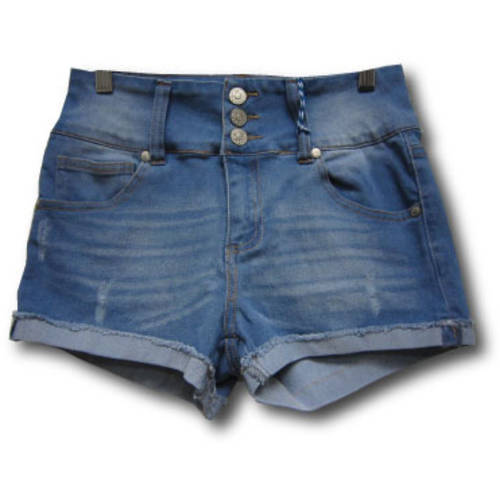 Juniors' Fray Roll 2.5 Denim Shorts