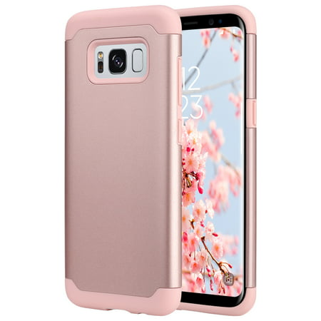 Galaxy S8 Case, ULAK Slim Dual Layer Slim Fit Hybrid Hard Back Cover and Soft Silicone Protective Case for Samsung Galaxy