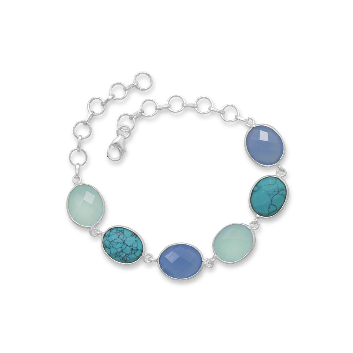 Blue and Green Chalcedony and Synthetic Turquoise Bracelet Sterling Silver by unknown