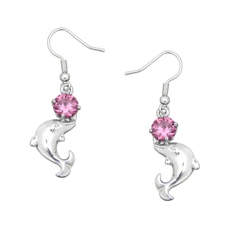 Falari Cubic Zirconia Crystal Dolphin Shaped Earring Pink
