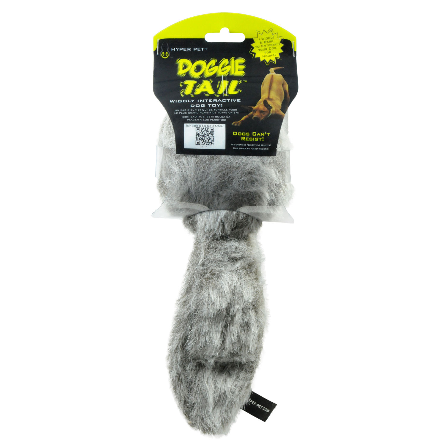 "Hyper Pet Doggie Tail Dog Toy Gray 9.5"" x 6"" x 3.25"""
