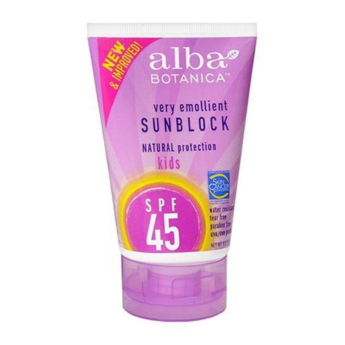 Alba Botanica Very Emollient Natural Protection Sunblock Spf 45 For Kids - 4 Oz, 6 Pack