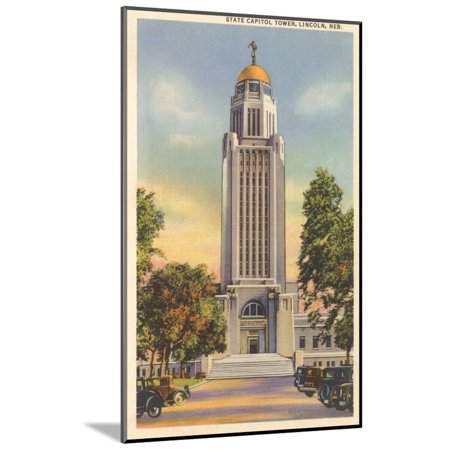 Lincoln State Capitol (State Capitol Tower, Lincoln, Nebraska Wood Mounted Print Wall)