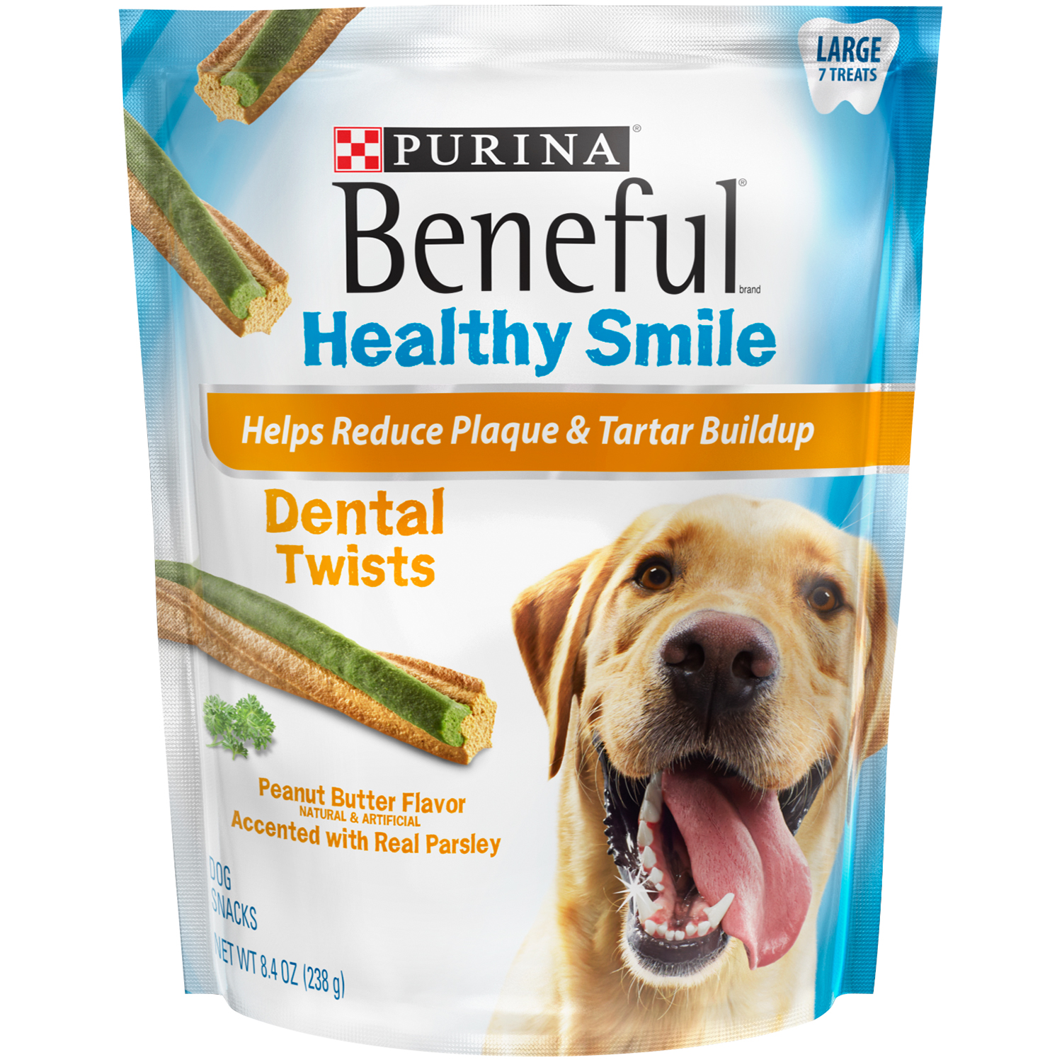 Purina Beneful Healthy Smile Dental Dog Treats Adult Large Twists 8.4 oz. Pouch