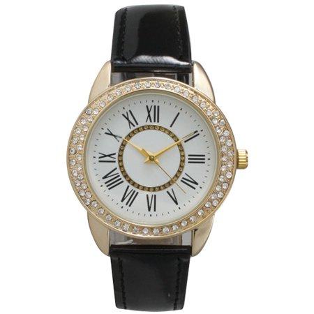 Diamond Bezel Leather (Women's Rhinestone Bezel Patent Leather Watch)