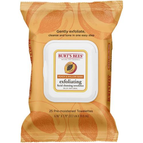 Burt's Bees Facial Cleansing Towelettes, Peach & Willow Bark 25 ea (Pack of 4)