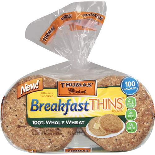Thomas' 100% Whole Wheat Breakfast Thins Rounds, 8 count