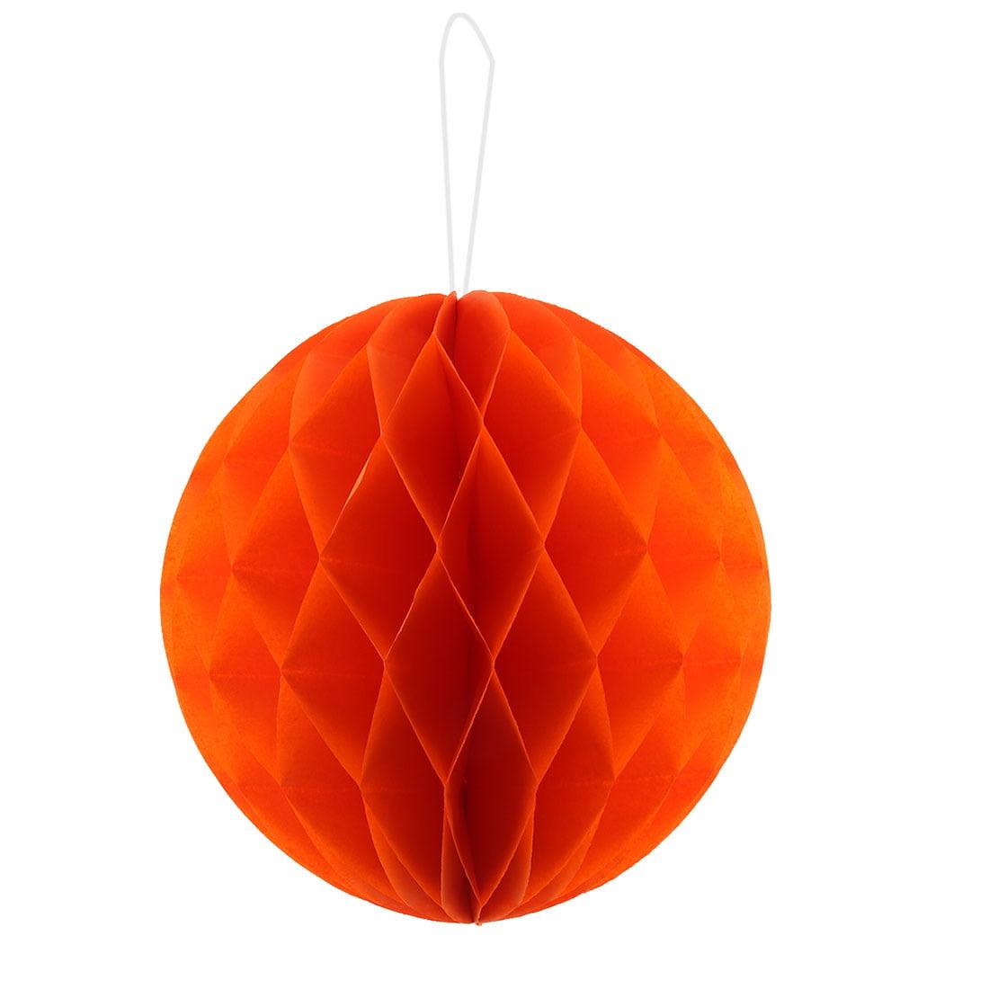 Paper Self-adhesive Handmade Hanging Decor Honeycomb Ball Orange 12 Inch Dia