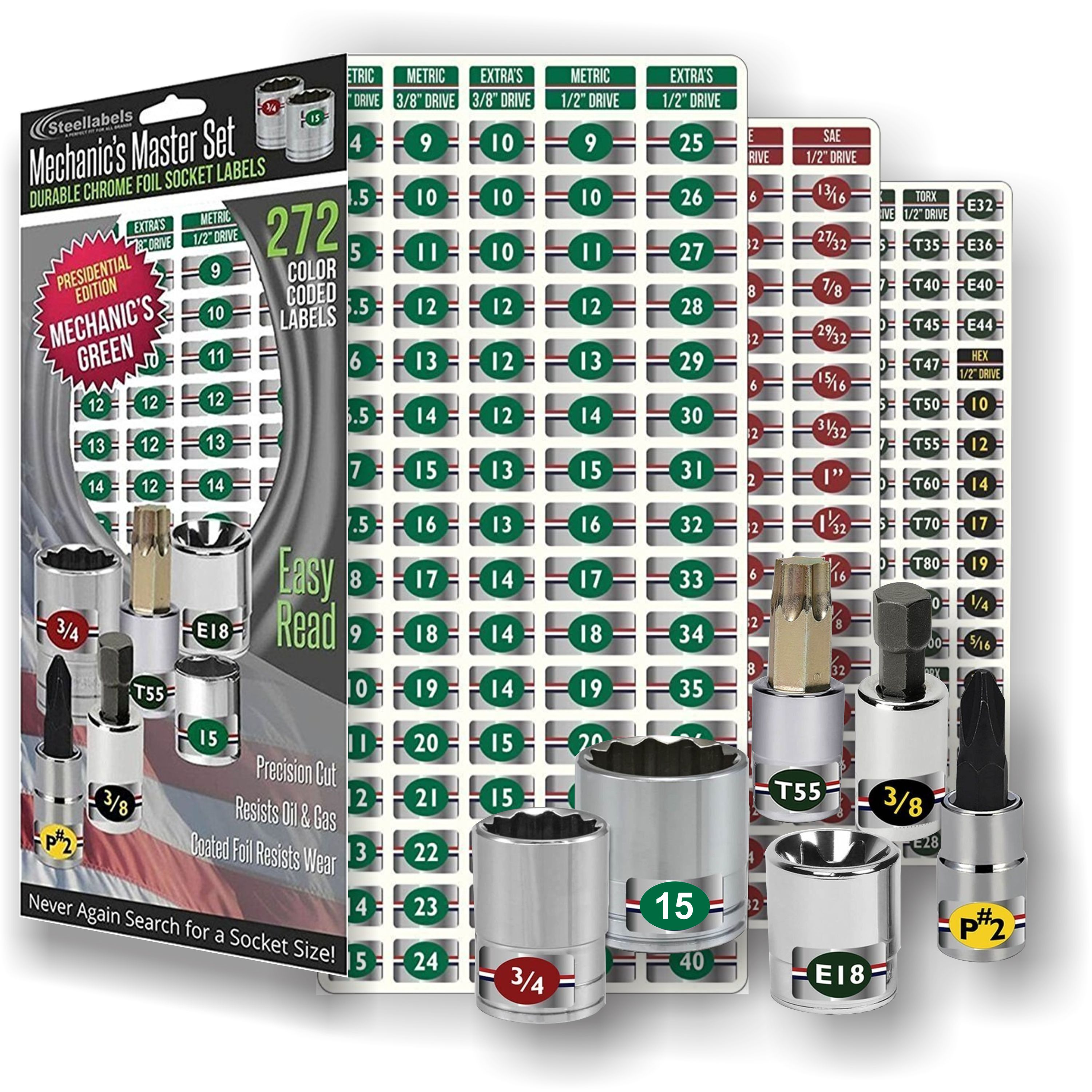 Ultimate Edition Mechanics Master Set - green edition - high quality chrome foil socket labels for Metric - Torx - SAE sockets, fits Craftsman, Snap On & Mac tools