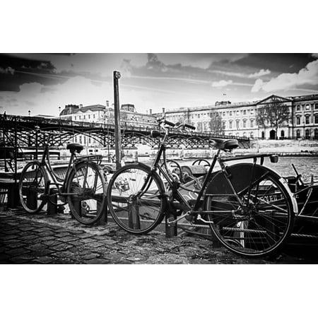 Parisian bikes - Pont des Arts - Paris - France Print Wall Art By Philippe Hugonnard