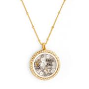 Gold Lame Floating Charm Locket Necklace