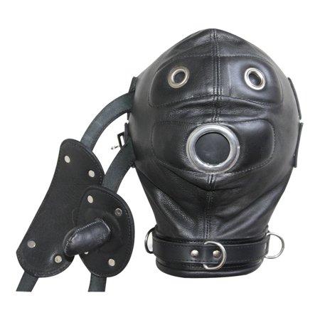 100 % Real Genuine Leather Bondage Mask Hood with Mouth Gag & Blindfold Bondage -